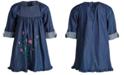 Good Lad Little Girls Cotton Embroidered Denim Dress