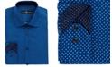 Society of Threads Men's Slim-Fit Performance Black Geometric Dot Dress Shirt