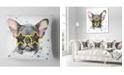 "Design Art Designart Black French Bulldog With Stars Animal Throw Pillow - 18"" X 18"""