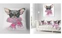 "Design Art Designart Cute Puppy Dog With Pink Shawl Animal Throw Pillow - 16"" X 16"""