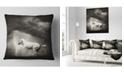 """Design Art Designart White Horse Under Thunder Sky Animal Throw Pillow - 16"""" X 16"""""""