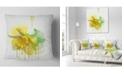 "Design Art Designart Yellow Narcissus Flower Watercolor Floral Throw Pillow - 18"" X 18"""