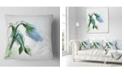 "Design Art Designart Green Tulip Sketch Watercolor Floral Throw Pillow - 18"" X 18"""