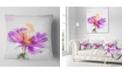 "Design Art Designart Purple Flower Watercolor Illustration Flowers Throw Pillowwork - 16"" X 16"""