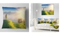"Design Art Designart Morning Mist Over Mountain Village Landscape Printed Throw Pillow - 16"" X 16"""