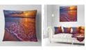 "Design Art Designart Colorful Sunset And Wavy Waters Seashore Throw Pillow - 18"" X 18"""