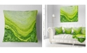 "Design Art Designart Polluted Water With Algae In Green Abstract Throw Pillow - 18"" X 18"""