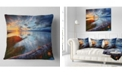 "Design Art Designart Colorful River Sunset With Log Seashore Throw Pillow - 18"" X 18"""