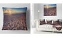 """Design Art Designart Trodden Sandy Beach At Sunset Seashore Throw Pillow - 16"""" X 16"""""""