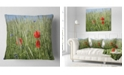 """Design Art Designart Rural Landscape With Red Poppies Landscape Printed Throw Pillow - 16"""" X 16"""""""