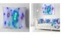 """Design Art Designart Blue Fractal Lights In Fog Abstract Throw Pillow - 16"""" X 16"""""""