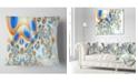 "Design Art Designart Yellow Blue Exotic Pattern Abstract Throw Pillow - 18"" X 18"""