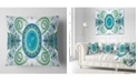 "Design Art Designart Blue Psychedelic Relaxing Art Abstract Throw Pillow - 16"" X 16"""
