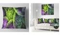 "Design Art Designart Green Pink Colorful Clouds Abstract Throw Pillow - 18"" X 18"""
