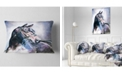 "Design Art Designart Black Horse With Bridle Abstract Throw Pillow - 12"" X 20"""