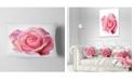 "Design Art Designart Pink Rose Sketch On White Background Flowers Throw Pillowwork - 12"" X 20"""