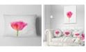 "Design Art Designart Bloomy Pink Tulip On White Drawing Flower Throw Pillow - 12"" X 20"""