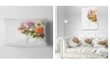 "Design Art Designart Pink And Orange Roses On White Modern Forest Throw Pillow - 12"" X 20"""