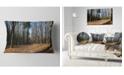 """Design Art Designart Fall Forest In Sunlight And Shadows Modern Forest Throw Pillow - 12"""" X 20"""""""