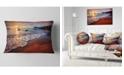 """Design Art Designart Stunning Ocean Beach At Sunset Seashore Throw Pillow - 12"""" X 20"""""""