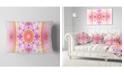 "Design Art Designart Cabalistic Pink Fractal Design Abstract Throw Pillow - 12"" X 20"""