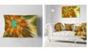 """Design Art Designart Rotating Bright Fractal Flower Abstract Throw Pillow - 12"""" X 20"""""""
