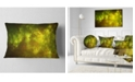 """Design Art Designart Clear Golden Starry Fractal Sky Abstract Throw Pillow - 12"""" X 20"""""""