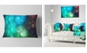 "Design Art Designart Colorful Rotating Fractal Galaxies Abstract Throw Pillow - 12"" X 20"""