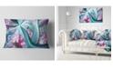 """Design Art Designart Blue Pink Fractal Plant Stems Abstract Throw Pillow - 12"""" X 20"""""""