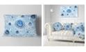 """Design Art Designart Light Blue Fractal Exotic Planet Abstract Throw Pillow - 12"""" X 20"""""""