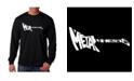 LA Pop Art Men's Word Art Long Sleeve T-Shirt- Metal Head Guitar