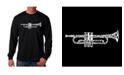 LA Pop Art Men's Word Art Long Sleeve T-Shirt- Trumpet