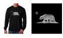LA Pop Art Men's Word Art Long Sleeve T-Shirt- California Bear