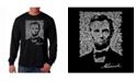 LA Pop Art Men's Word Art Long Sleeve T-Shirt- Abraham Lincoln