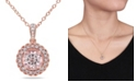 """Macy's Morganite (1-1/6 ct. t.w.) and Diamond (1/10 ct. t.w.) Halo 18"""" Necklace in Rose Gold over Silver"""