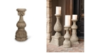 The GG Collection 24-Inch Tall Cast Stone Grey Embossed  Candlestick Holder