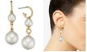 Charter Club Gold-Tone Pavé Hoop & Imitation Pearl Double Drop Earrings, Created for Macy's