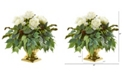 "Nearly Natural 14"" Rose Artificial Arrangement in Gold Urn"