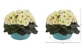 """Nearly Natural 9"""" African Violet Artificial Plant in Turquoise Vase"""