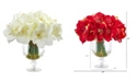 Nearly Natural Amaryllis Bouquet Artificial Arrangement in Royal Vase