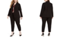 Calvin Klein Plus Size Piped-Trim Tuxedo Blazer, Pleated-Neck Top & Piped-Trim Cropped Pants
