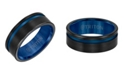 Triton 8MM Black & Blue Tungsten Carbide Ring with Asymmetrical Channel