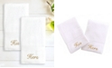 """Linum Home 100% Turkish Cotton """"His"""" and """"Hers"""" 2-Pc. Hand Towel Set"""