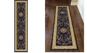"KM Home CLOSEOUT! 1419/1344/NAVY Navelli Blue 2'2"" x 8' Runner Rug"