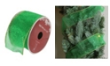 """Northlight Pack of 12 Shimmering Green Solid Wired Christmas Craft Ribbon Spools - 2.5"""" x 120 Yards Total"""