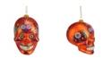 "Northlight 4"" Day of the Dead Orange Glitter Embellished Skull Halloween Christmas Ornament"