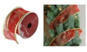 "Northlight Pack of 12 Cranberry Red and Gold Glitter Snowflakes Wired Christmas Craft Ribbon Spools - 2.5"" x 120 Yards Total"