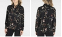 nanette Nanette Lepore Printed Long Sleeve Stand Collar Button Down with Pleats