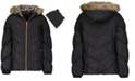 Weathertamer Big Girls Hooded Puffer Jacket With Faux-Fur Trim & Hat