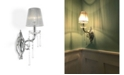 Worldwide Lighting Orleans 1-Light Chrome Finish and Clear Crystal Wall Sconce Light with String Shade